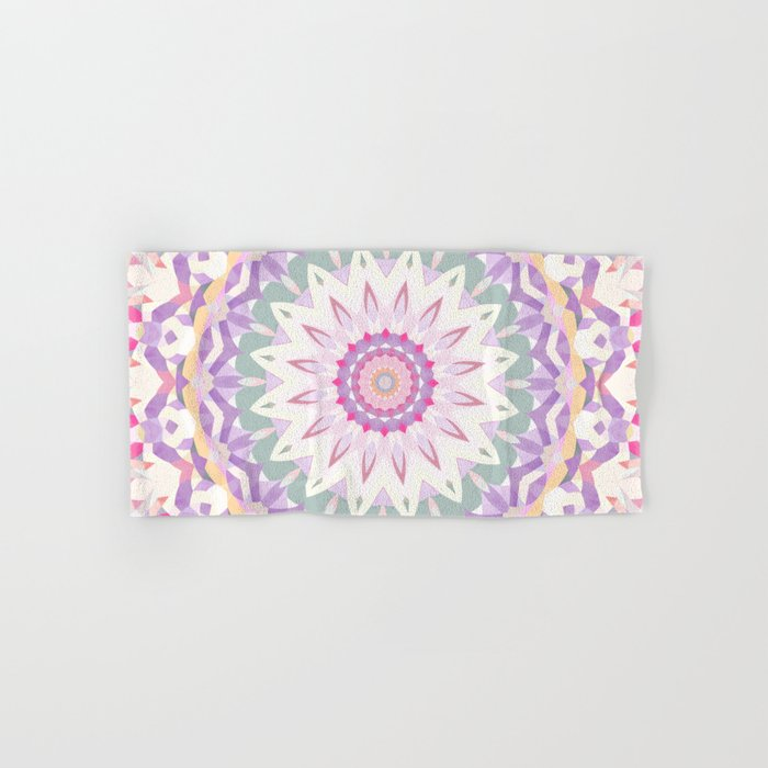 Calypso Mandala In Pastel Pink Purple Green And White Hand Bath Towel By Kellytrich Society6