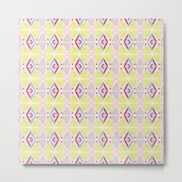 Hand Drawn Geometric Diamond Pattern Design - Burgundy and Yellow Metal Print