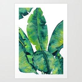 Banana Greenery Print, Watercolor Banana Leaves, Tropical Leaves in Watercolor Art Print