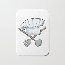 Chef hat with Wooden spoon Bath Mat