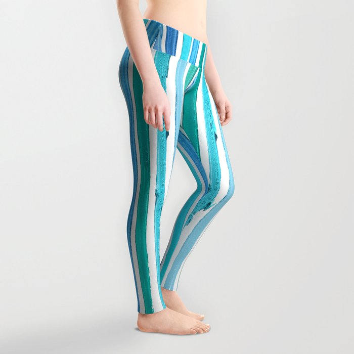 Lipstick Stripes - Blue Teal Turquoise Leggings