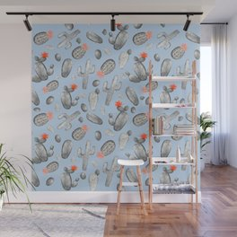 Cactus Pattern Watercolor | Cacti Peach and Gray, Orange and Blue Wall Mural