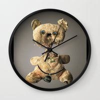 hologram Wall Clocks featuring Sad Mentalembellisher Poet Teddy Bear With Hologram Eyes by mentalembellisher