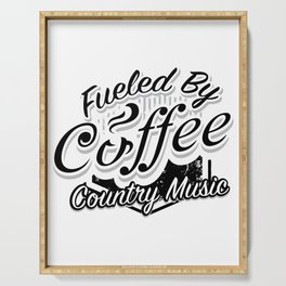 Coffee And Country Music Funny Musicians Gifts Serving Tray