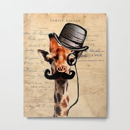 Giraffe Mustache Monocle Tophat Dandy Metal Print