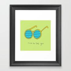 Nice to Sea You Retro Shades Green Framed Art Print