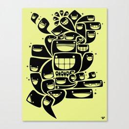Happy Squiggles - 1-Bit Oddity - Black Version Canvas Print