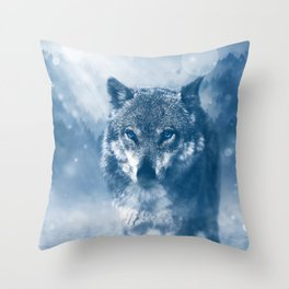 Wolf and Snow Throw Pillow