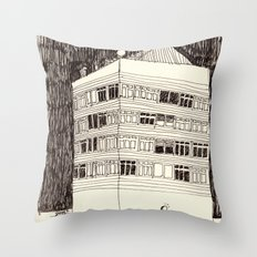Building at Night with the Moon Throw Pillow
