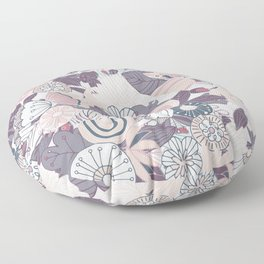 Whimsical Pastel Pink and Purple Floral Floor Pillow