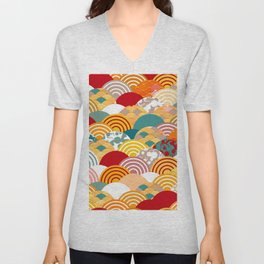 Nature background with japanese sakura flower, orange red pink Cherry, wave circle pattern Unisex V-Neck