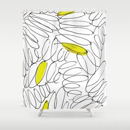 Spark: a minimal black and white abstract piece with yellow details Shower Curtain