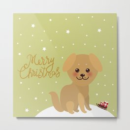 Merry Christmas New Year's card design Kawaii funny golden beige dog Metal Print