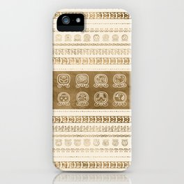 Maya Calendar Glyphs gold on pastel beige iPhone Case