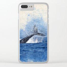 Watercolor whale nautical beach house print Clear iPhone Case