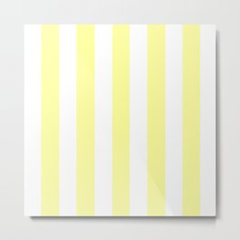 Lemon yellow (Crayola) - solid color - white vertical lines pattern Metal Print