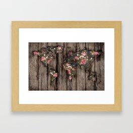 Wood Flowers Mapamundi Framed Art Print