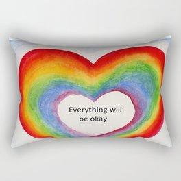 Rainbow Heart Everything will be Okay Rectangular Pillow