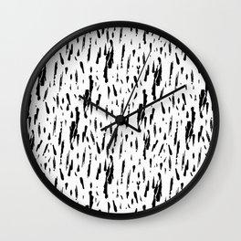Seattle Rain Black Ink on White Wall Clock