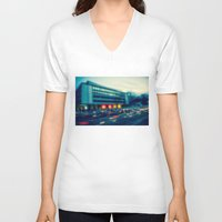 rush V-neck T-shirts featuring Rush Hour  by hannes cmarits (hannes61)