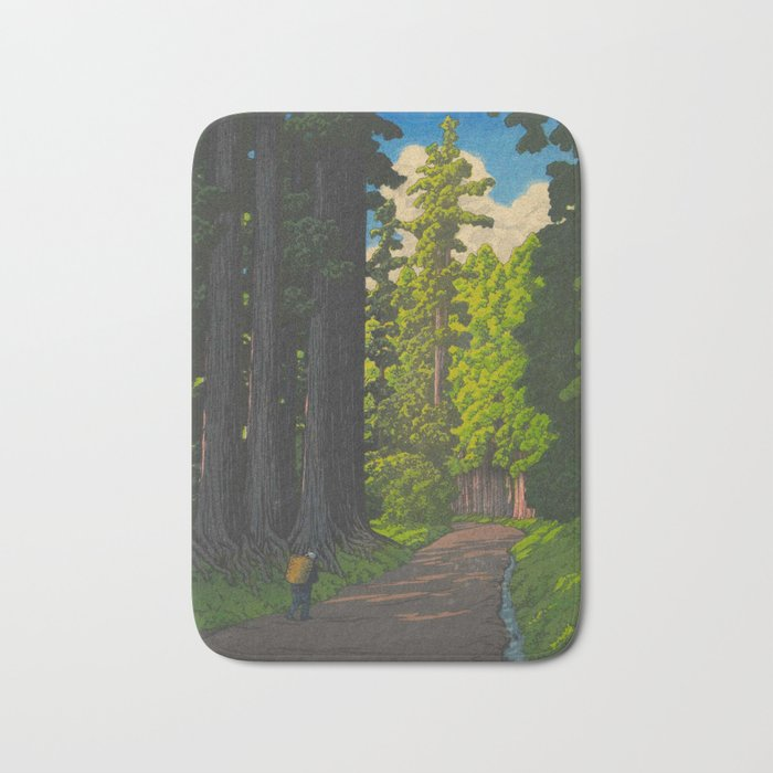 Vintage Japanese Woodblock Print Kawase Hasui Mystical Japanese forest Tall Green Trees Bath Mat