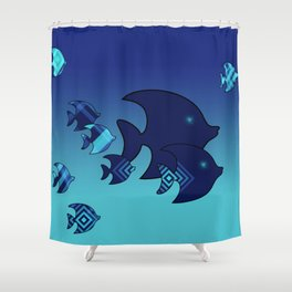 Nine Blue Fish with Patterns Shower Curtain
