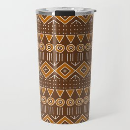 Mudcloth Style 2 in Brown and Orange Travel Mug
