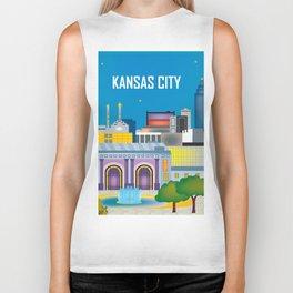 Kansas City, Missouri - Skyline Illustration by Loose Petals Biker Tank