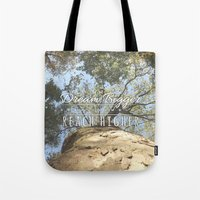 climbing Tote Bags featuring KEEP CLIMBING by Aonair Designs