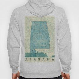 Alabama State Map Blue Vintage Hoody