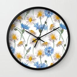 Chamomiles and blue cornflowers Wall Clock