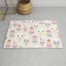 Cute kawaii summer Japanese ice cream cones and popsicle p Rug