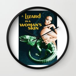 A Lizard in a Woman's skin, vintage horror movie poster Wall Clock