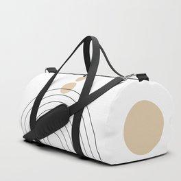 Mid Century Modern Geometric 35 (Rainbow and Rain, Black and Beige) Duffle Bag
