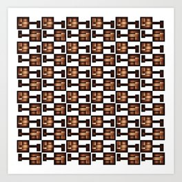 Copper & White Squares Art Print