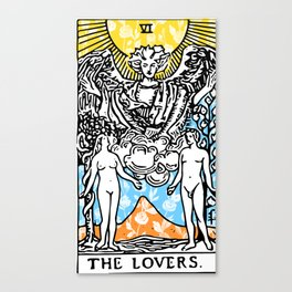 Floral Tarot Print - The Lovers Canvas Print