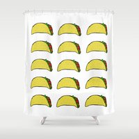 taco Shower Curtains featuring Taco Party by Leah Flores