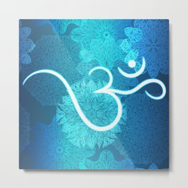 Indian ornament pattern with ohm symbol Metal Print