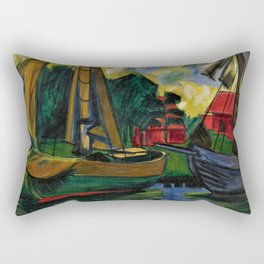 Boats in the Harbor by Hermann Max Pechstein Rectangular Pillow