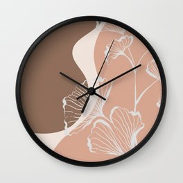 Organic Shapes & Ginkgo Leaves Wall Clock
