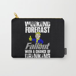 Fallout Weekend Forecast - funny drinking with Vault Boy Carry-All Pouch