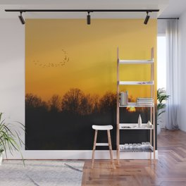 Sunset and cranes natural landscape from France Wall Mural