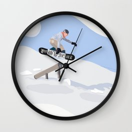 Graphic Snowboarding Art Wall Clock