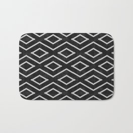 Stitch Diamond Tribal Print in Black and White Bath Mat