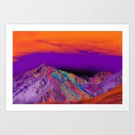 California's Sierra Mts-Digital Art, Orange & Purple Art Print