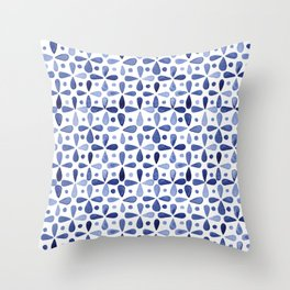 Imperfect Geometry Blue Petal Grid Throw Pillow
