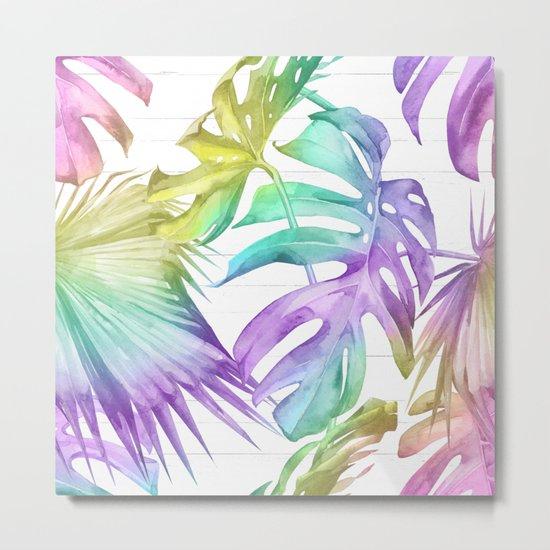 Tropical Rainbow Palm Leaves on Wood Metal Print