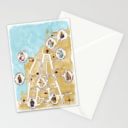 St Andrews Map Stationery Cards