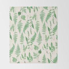 Ferns on Cream I - Botanical Print Throw Blanket
