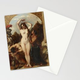William Etty - Mars, Venus and an Attendant derobing her Mistress for the Bath Stationery Cards